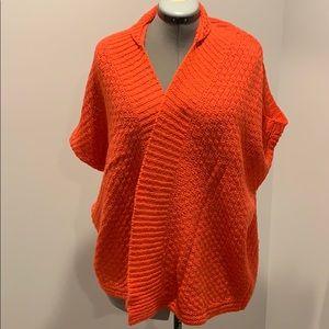 Orange LOFT poncho sweater